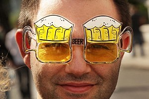 Man with Beer Glasses