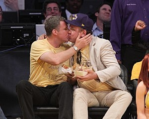 Will Ferrell and John C. Reilly really Kiss at Lakers game