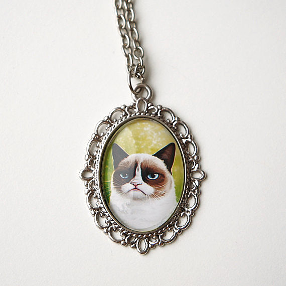 Grumpy Cat Necklace,-Efficats